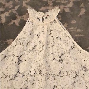 FREE PEOPLE High Neck Lace Top